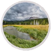 Clouds Over Hat Lake Round Beach Towel