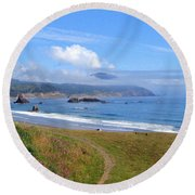 Clouds Over Humbug Mountain Round Beach Towel