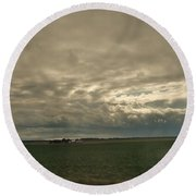 Clouds Over Illinois Round Beach Towel