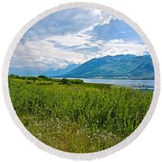 Clouds Over Jackson Lake In Grand Teton National Park-wyoming Round Beach Towel