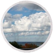 Clouds Over Lake Michigan Round Beach Towel