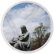 Clouds Over Mother And Twins Round Beach Towel