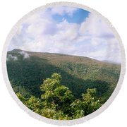 Clouds Over Mountain, Sunset Rock Round Beach Towel