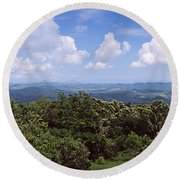 Clouds Over Mountains, Flores Island Round Beach Towel