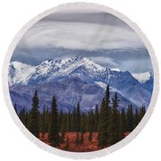 Clouds Over Mountains Round Beach Towel