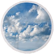 Clouds Over New Mexico Round Beach Towel