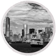 Clouds Over New York Round Beach Towel