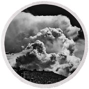 Clouds Over Santa Fe Round Beach Towel