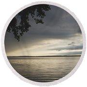 Clouds Over Seneca Lake Round Beach Towel