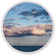 Clouds Over The Atlantic Ocean At Dusk Round Beach Towel