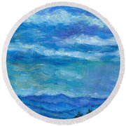Clouds Over The Blue Ridge Round Beach Towel