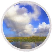 Clouds Over The Grasses Round Beach Towel