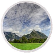 Clouds Over The Mountains Round Beach Towel
