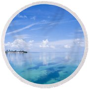 Clouds Over The Ocean, Florida Keys Round Beach Towel