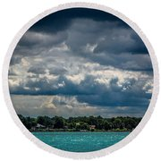 Clouds Over The River Round Beach Towel