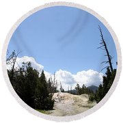 Clouds Over Thermal Area Round Beach Towel