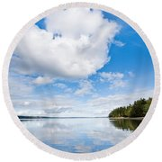 Clouds Reflected In Puget Sound Round Beach Towel