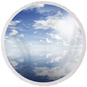 Clouds Reflected Round Beach Towel