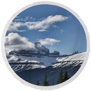 Clouds Sky Mountains Round Beach Towel
