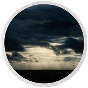 Clouds Sunlight And Seagulls Round Beach Towel by Hakon Soreide