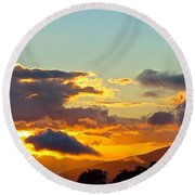 Clouds With Colors Round Beach Towel