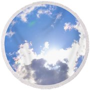 Clouds With Sunshine Round Beach Towel