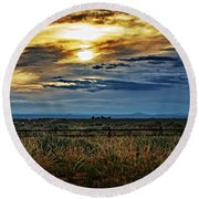 Cloudy Afternoon Round Beach Towel