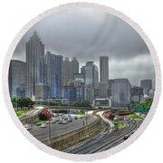 Cloudy Atlanta Capital Of The South Round Beach Towel