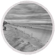 Cloudy Beach Morning Round Beach Towel