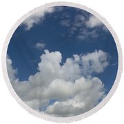 Cloudy Blue Sky Round Beach Towel