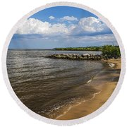 Cloudy Ceiling Round Beach Towel