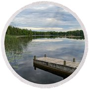 Cloudy Colored Water Round Beach Towel
