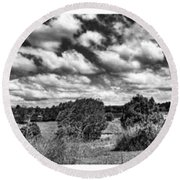 Cloudy Countryside Collage - Black And White Round Beach Towel