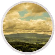 Cloudy Day In New Hampshire Round Beach Towel