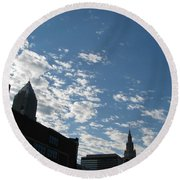 Cloudy In Cleveland Round Beach Towel