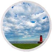 Cloudy Milwaukee Harbor Round Beach Towel
