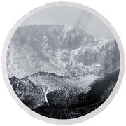 Cloudy Misty Pikes Peak Round Beach Towel