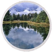 Cloudy Reflection Round Beach Towel