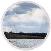Cloudy Spring Day Round Beach Towel