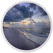 Cloudy Sunrise Over Orange Beach Round Beach Towel