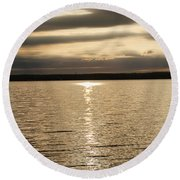 Cloudy Sunrise Round Beach Towel