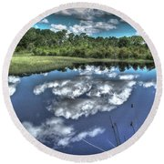 Cloudy Waters Round Beach Towel