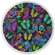 Cloured Butterfly Explosion Round Beach Towel