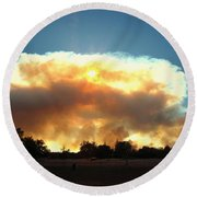 Clover Fire At 5 25 Pm Round Beach Towel