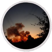 Clover Fire At Night Round Beach Towel