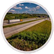 Clover Leaf Exit Ramps On Highway Near City Round Beach Towel