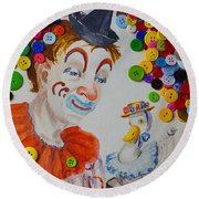 Clown And Duck With Buttons Round Beach Towel