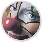 Clown Mural Round Beach Towel