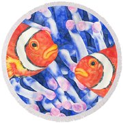 Clownfish Couple Round Beach Towel