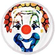 Clownin Around - Funny Circus Clown Art Round Beach Towel by Sharon Cummings